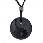 Zwarte edelsteen, Obsidiaan Yin Yang hanger