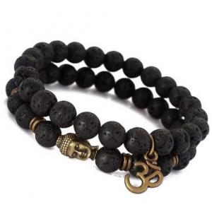 Edelsteen zwart, lava steen armband
