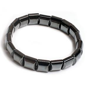 Edelsteen zwart zilver armband hematiet