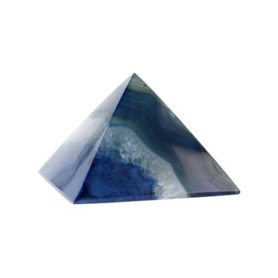 Agaat blauw piramide 50 mm (gekleurd)