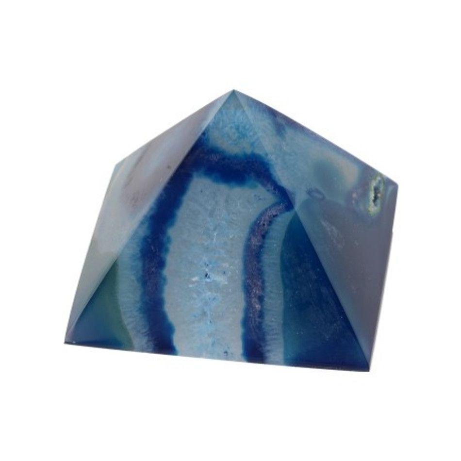 Agaat blauw piramide 55 mm (gekleurd)
