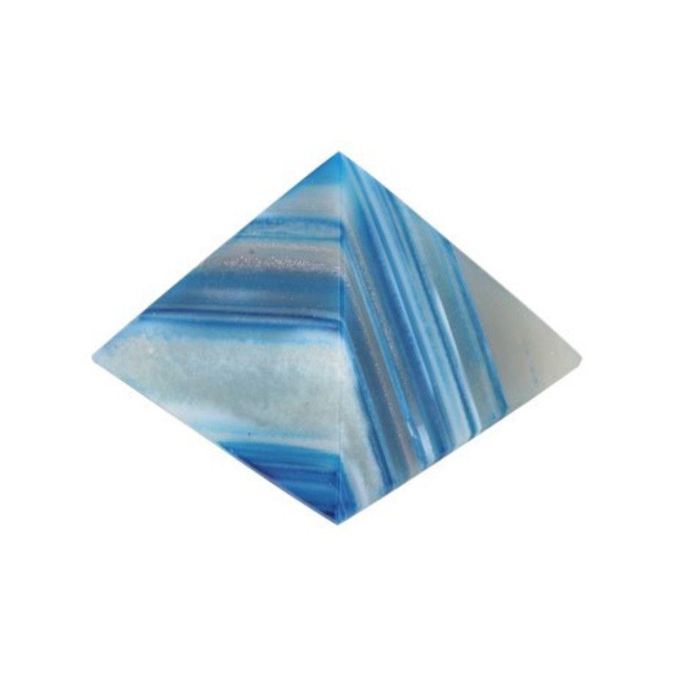 Agaat blauw piramide 60 mm (gekleurd)