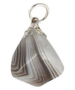 Agaat Botswana grijs edelsteen hanger