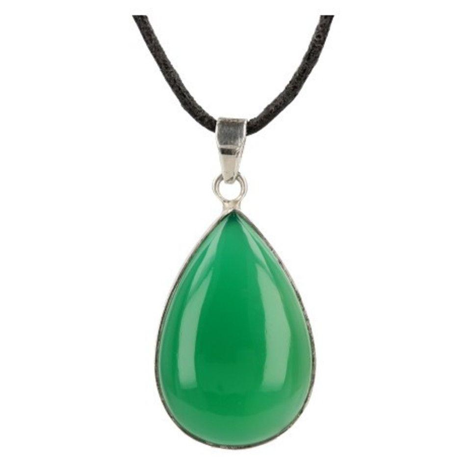 Agaat groen hanger in zilver druppel (bijgekleurd)