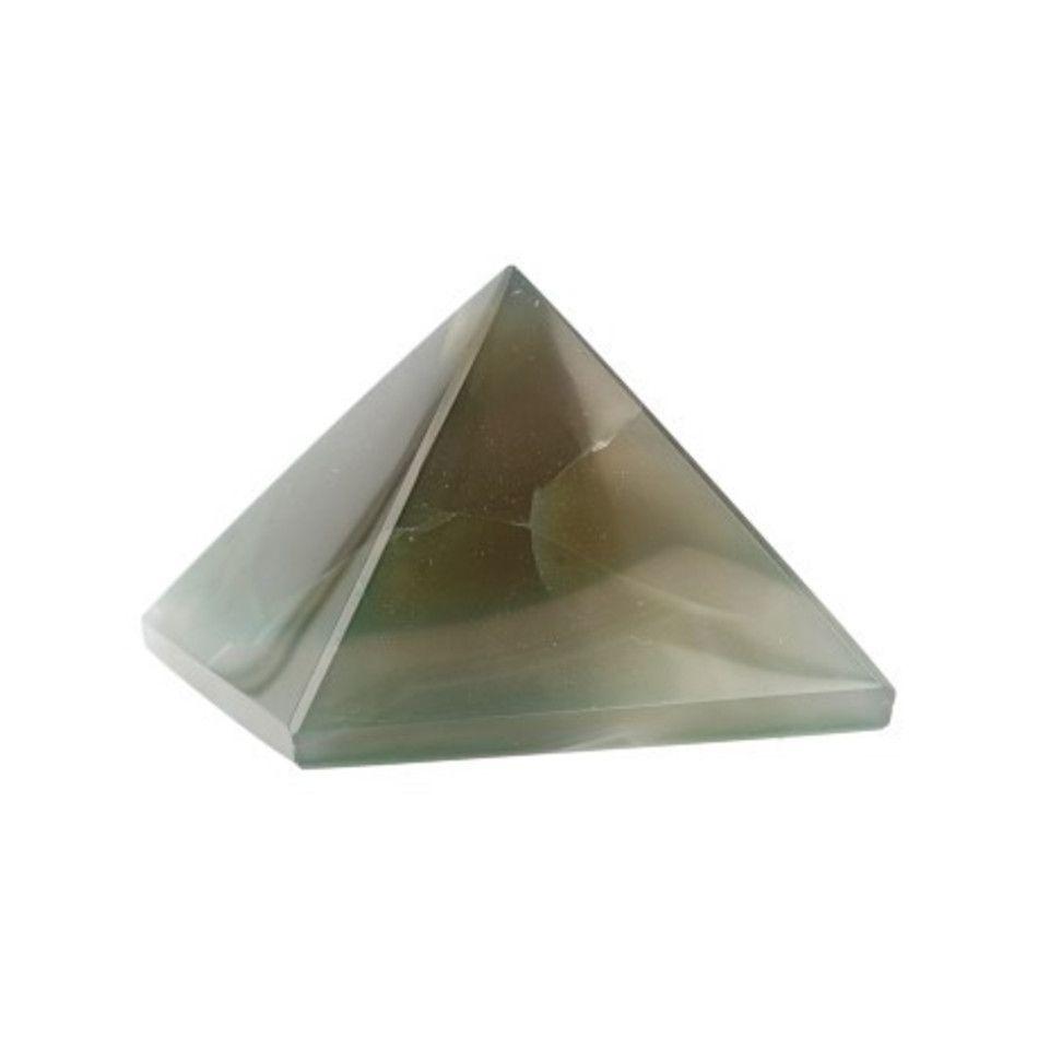 Agaat groen piramide 40 mm (gekleurd)