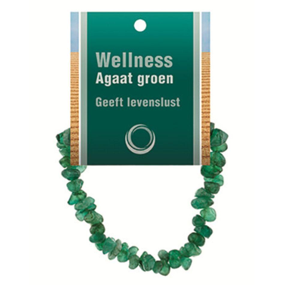 Agaat groen splitarmband + kaart (gekleurd)