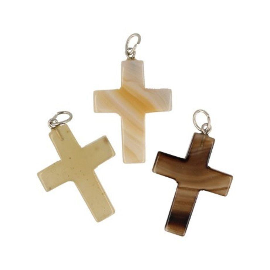 Agaat kruis hanger 28 mm