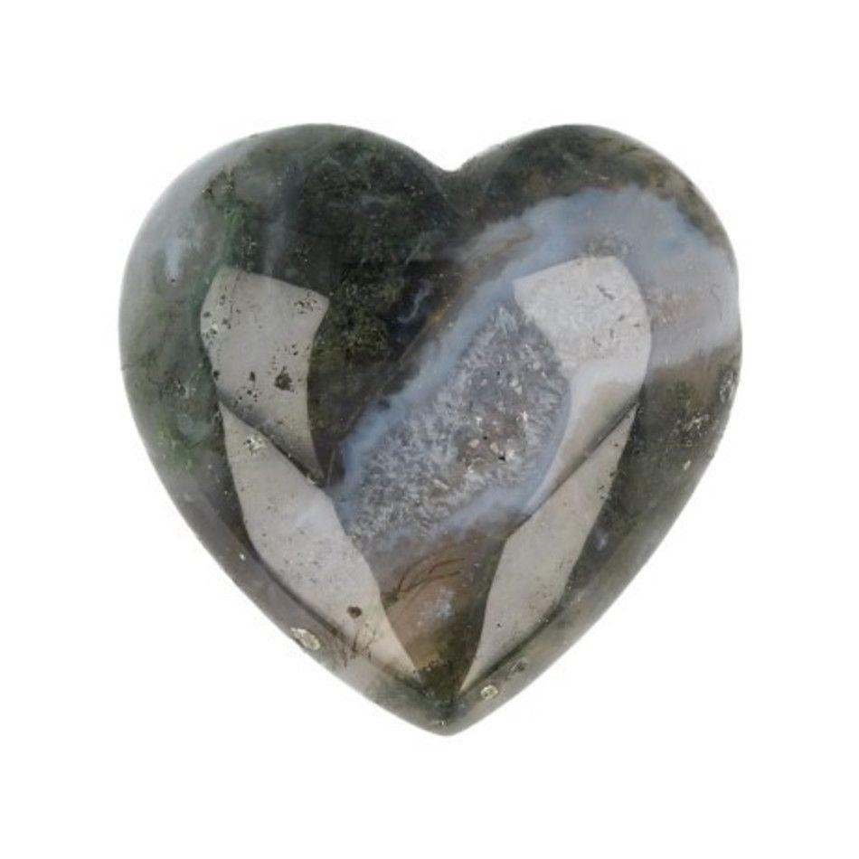Agaat mos edelsteen hart 30 mm