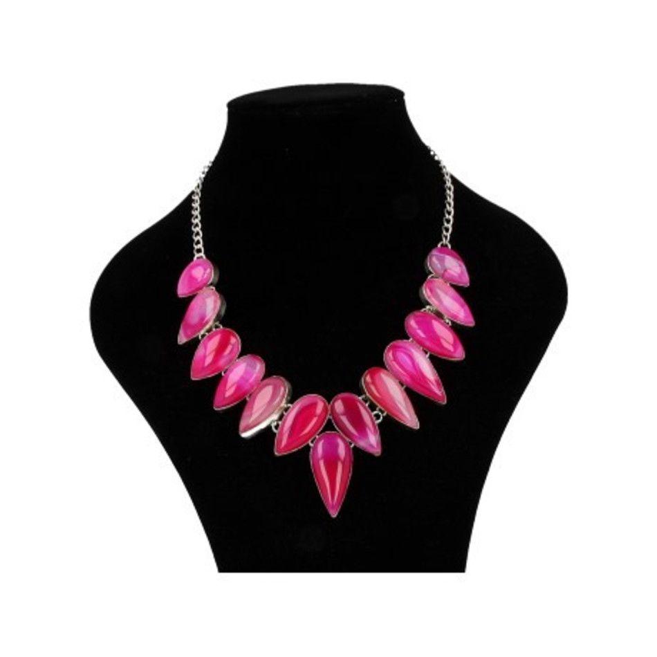 Agaat roze collier (gekleurd)