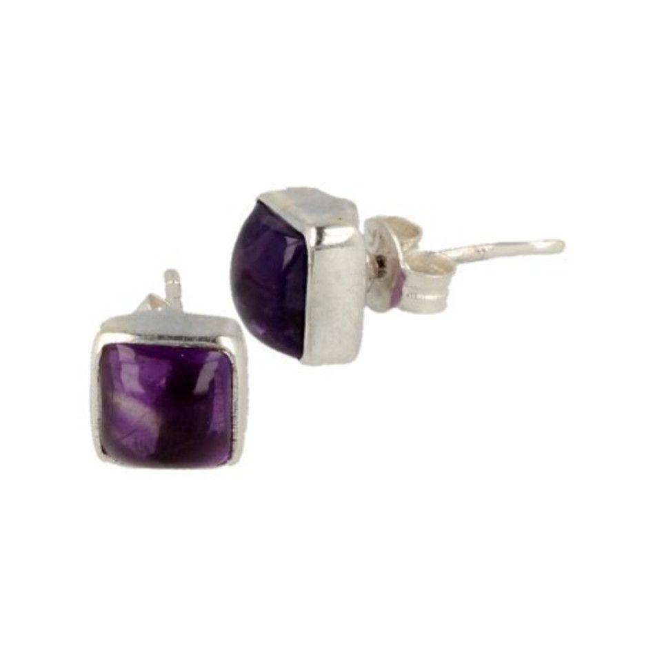 Amethist zilveren oorstekers vierkant