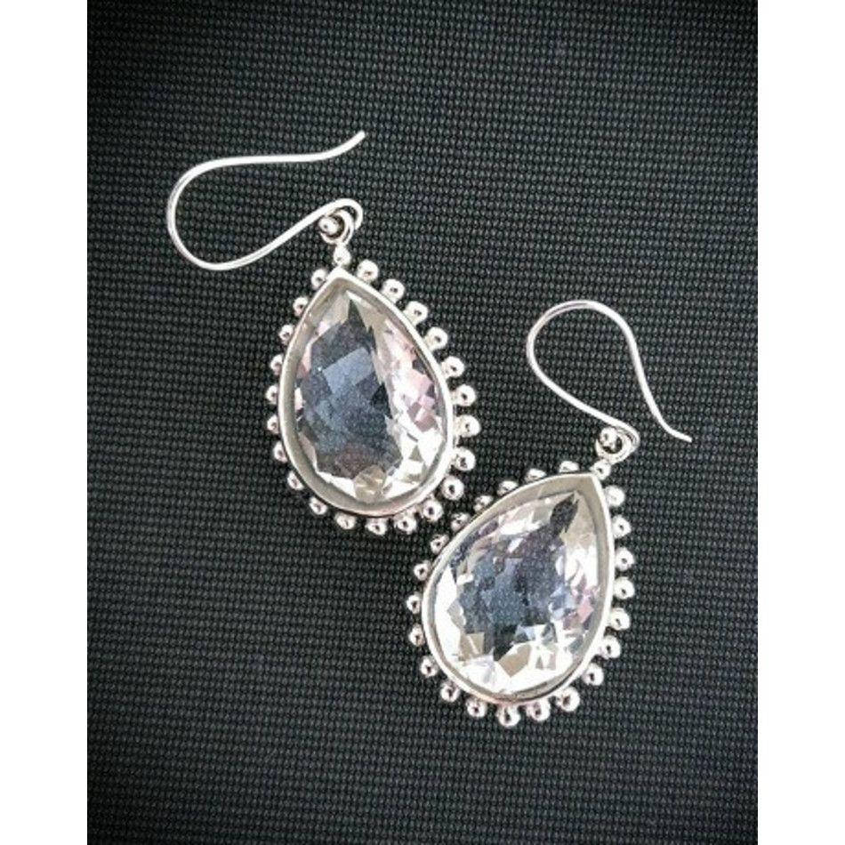 Bergkristal oorbellen facet zilver