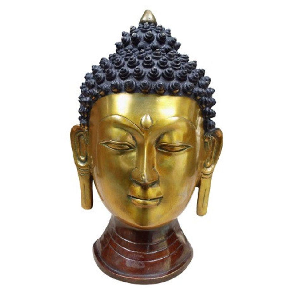 Boeddha hoofd goudkleurig beeld brons nr.17