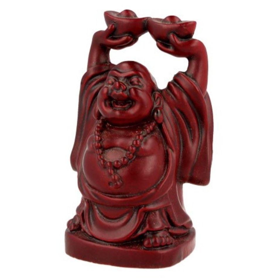Boeddha rood, 9 cm, 2 schalen boven hoofd