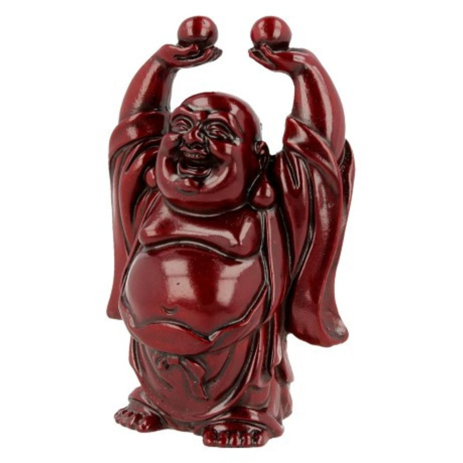 Boeddha rood, 9 cm, bollen hoog in hand