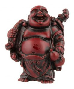 Boeddha rood, 9 cm, knapzak en kruik