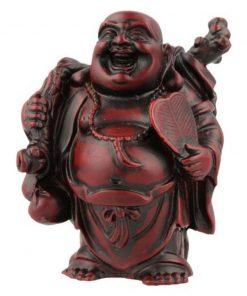 Boeddha rood, 9 cm, knapzak en spiegel