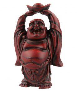 Boeddha rood, 9 cm, schaal boven hoofd