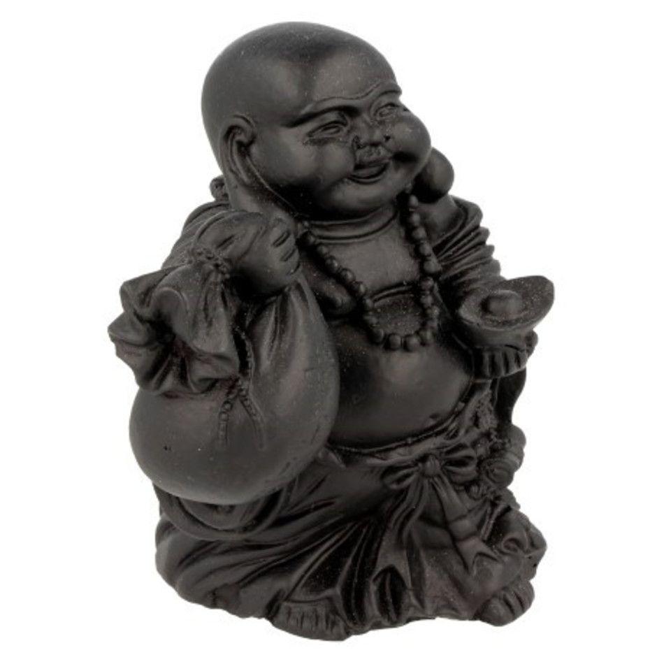 Boeddha zwart, 9 cm, zak en schaal