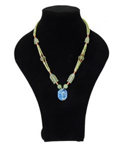 Bohemian ketting Jade met Lapis Lazuli ovaalhanger