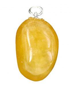 Calciet geel edelsteen hanger geslepen