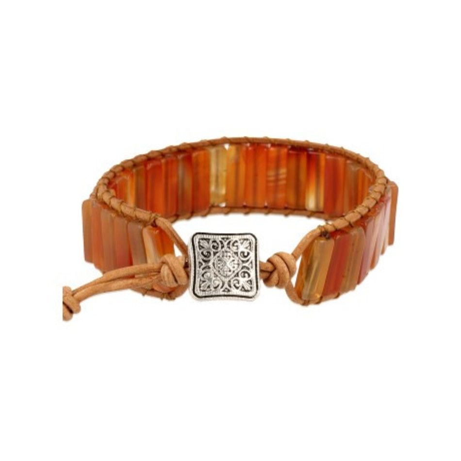 Carneool leren armband gipsy-style