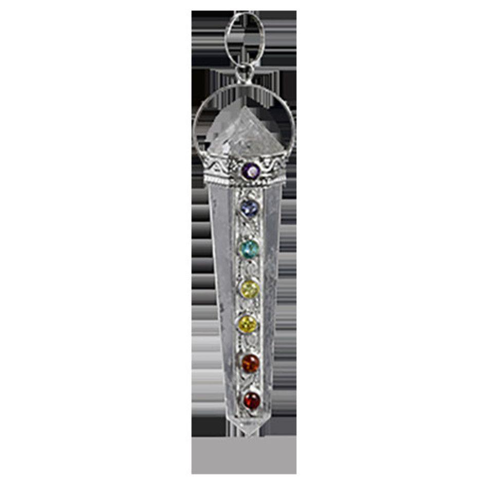 Chakra hanger verzilverd op kristal