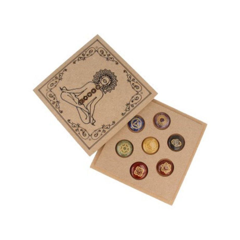 Chakra schijfstenen set in houten doosje