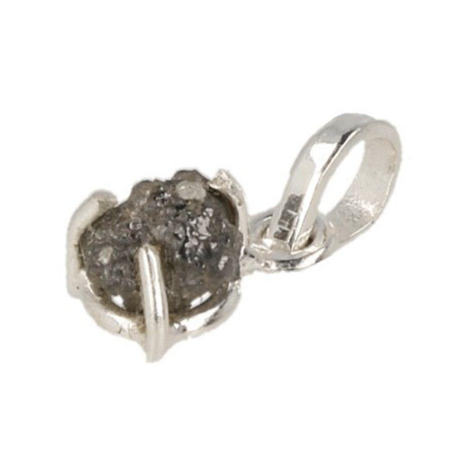 Diamant zilveren hanger ruw