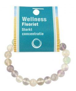 Fluoriet regenboog powerbead armband + kaart
