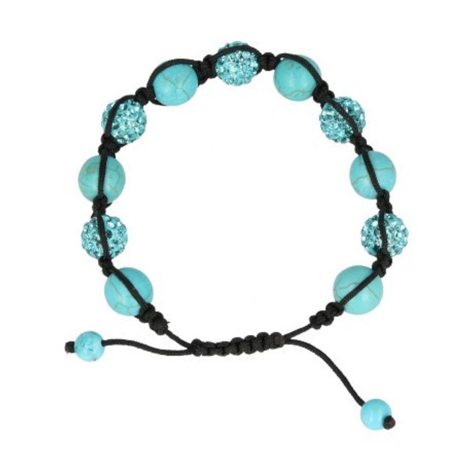 Howliet blauw glitter shamballa armband (gekleurd)