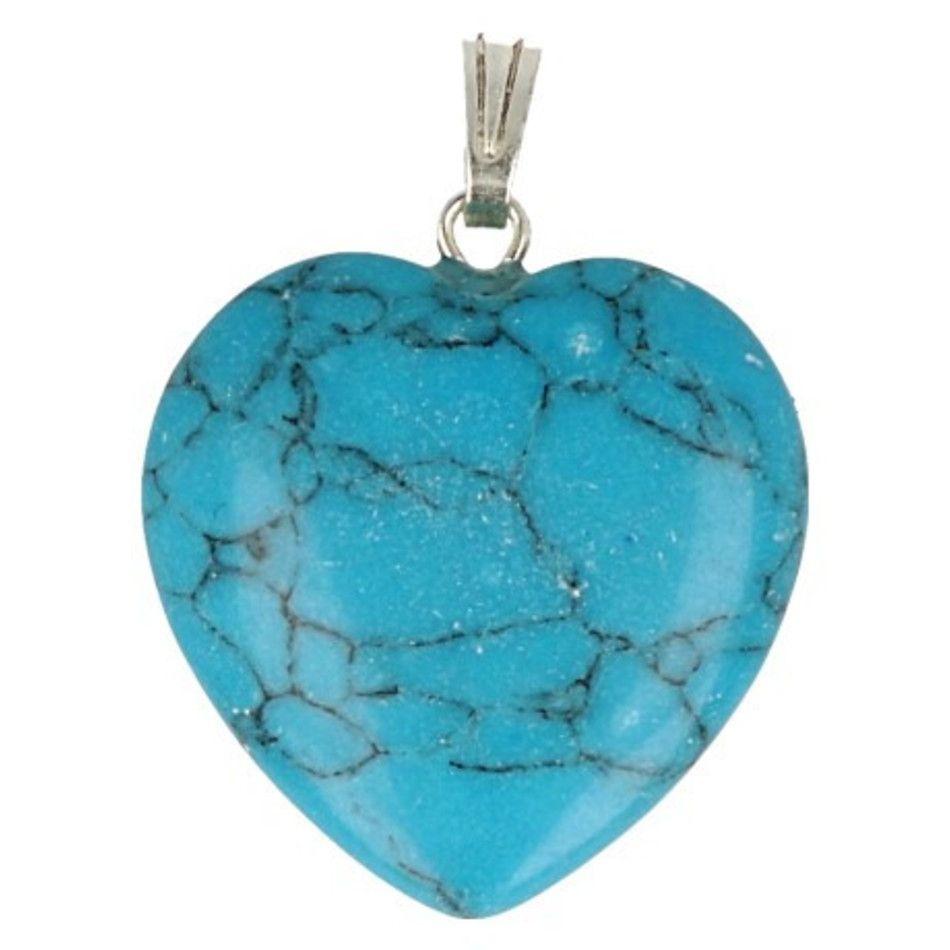 Howliet blauw hart hanger 20 mm (gekleurd)