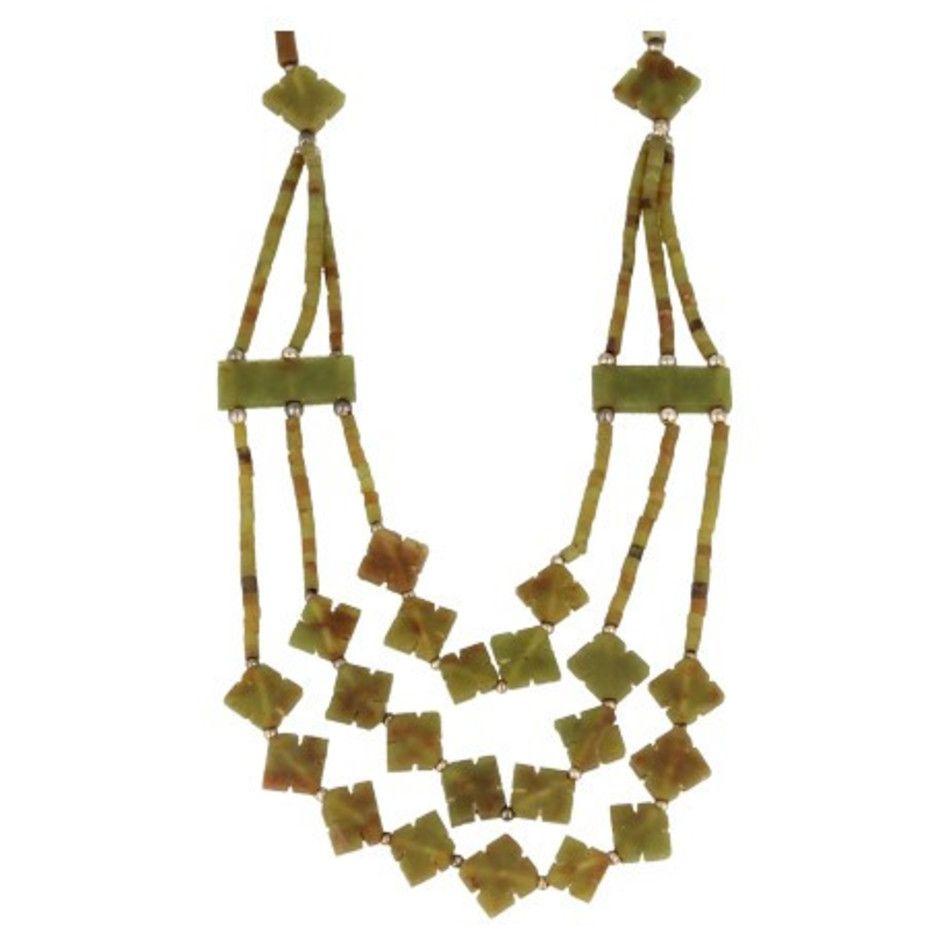 Jade bohemian ketting 3-streng klaver licht