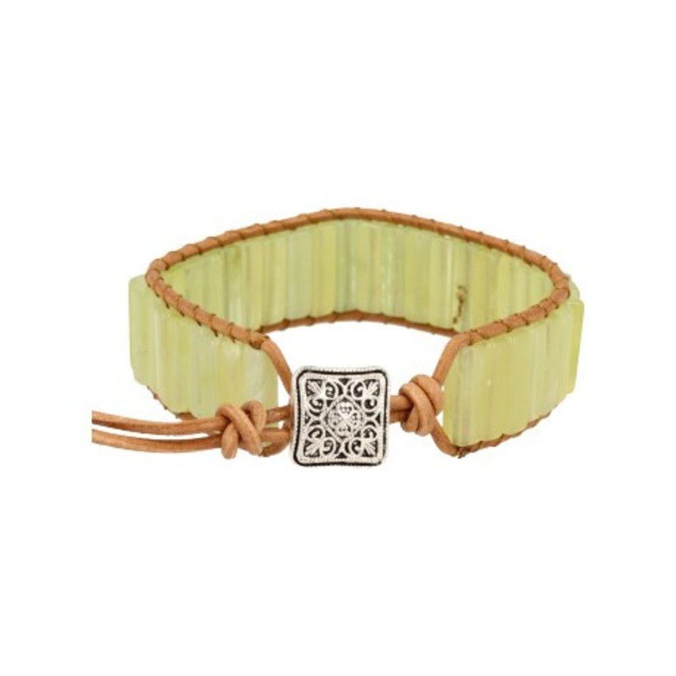 Jade leren armband gipsy-style