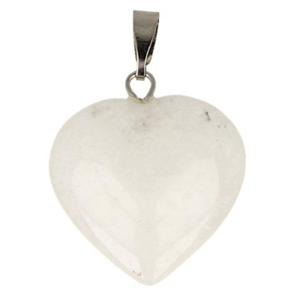 Jade wit hart hanger 20 mm