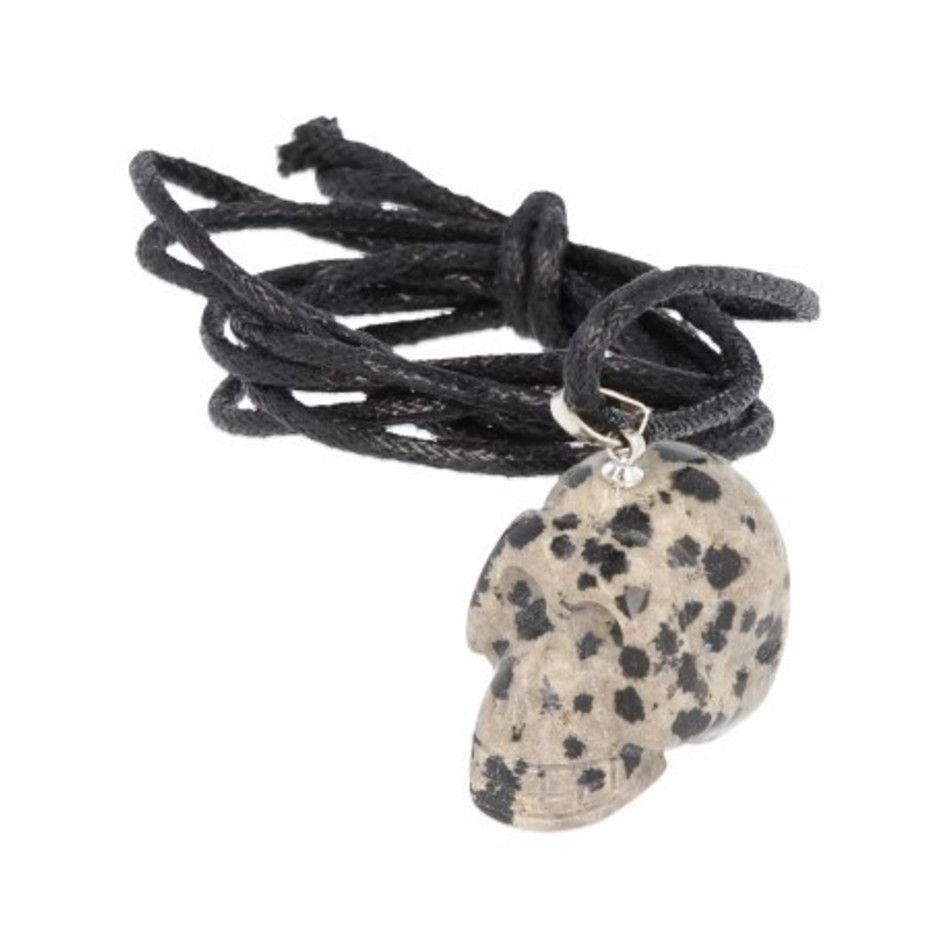 Jaspis dalmatiër schedelhanger aan koord
