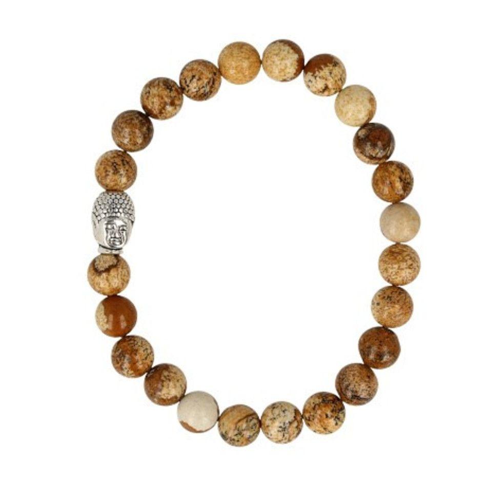 Jaspis landschap kralen armband boeddha mannen