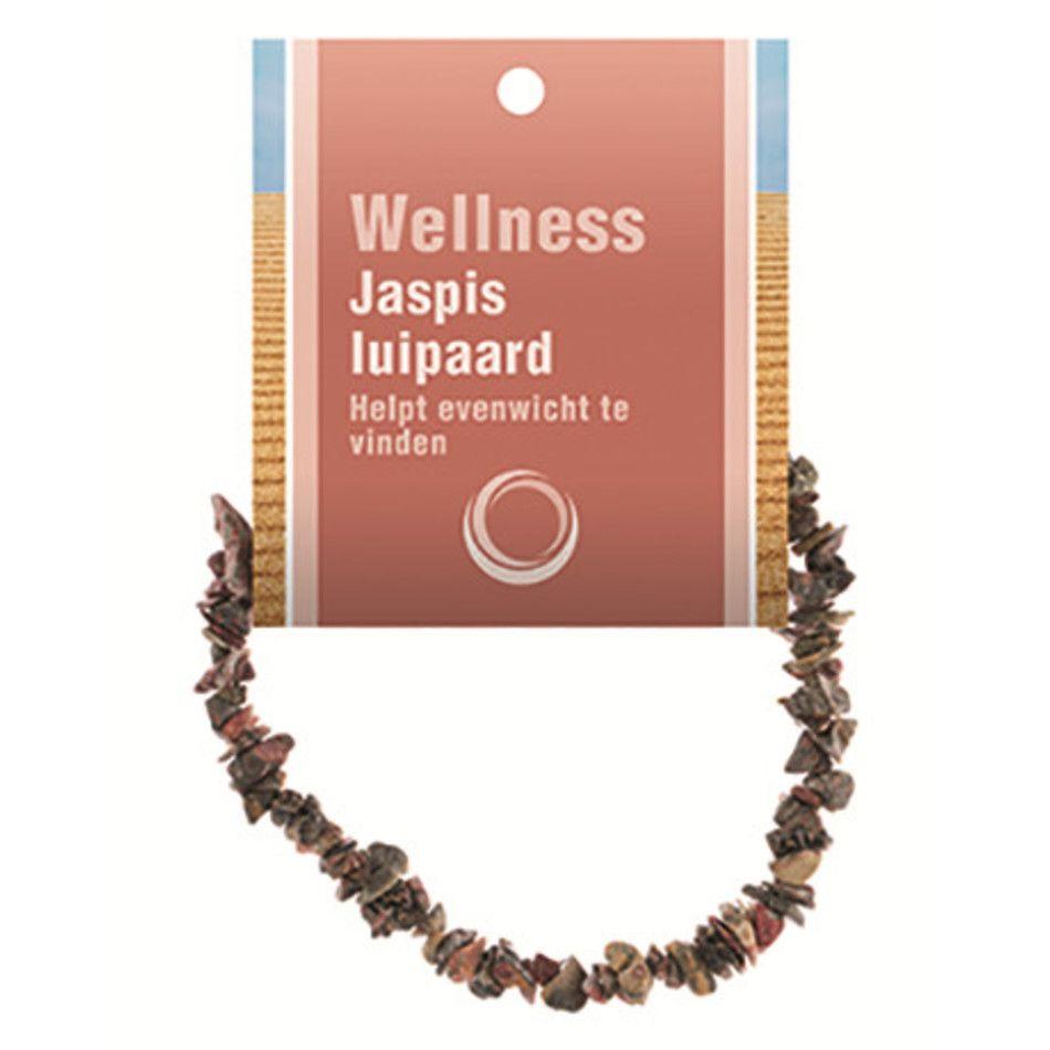Jaspis luipaard splitarmband + kaart