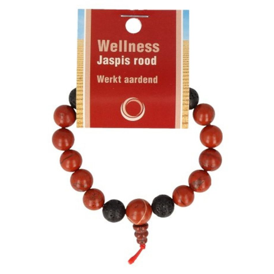 Jaspis rood powerbead mannen armband + kaart 21 cm