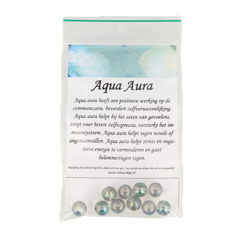 Kralen Aqua Aura licht 8 mm - 10 st.