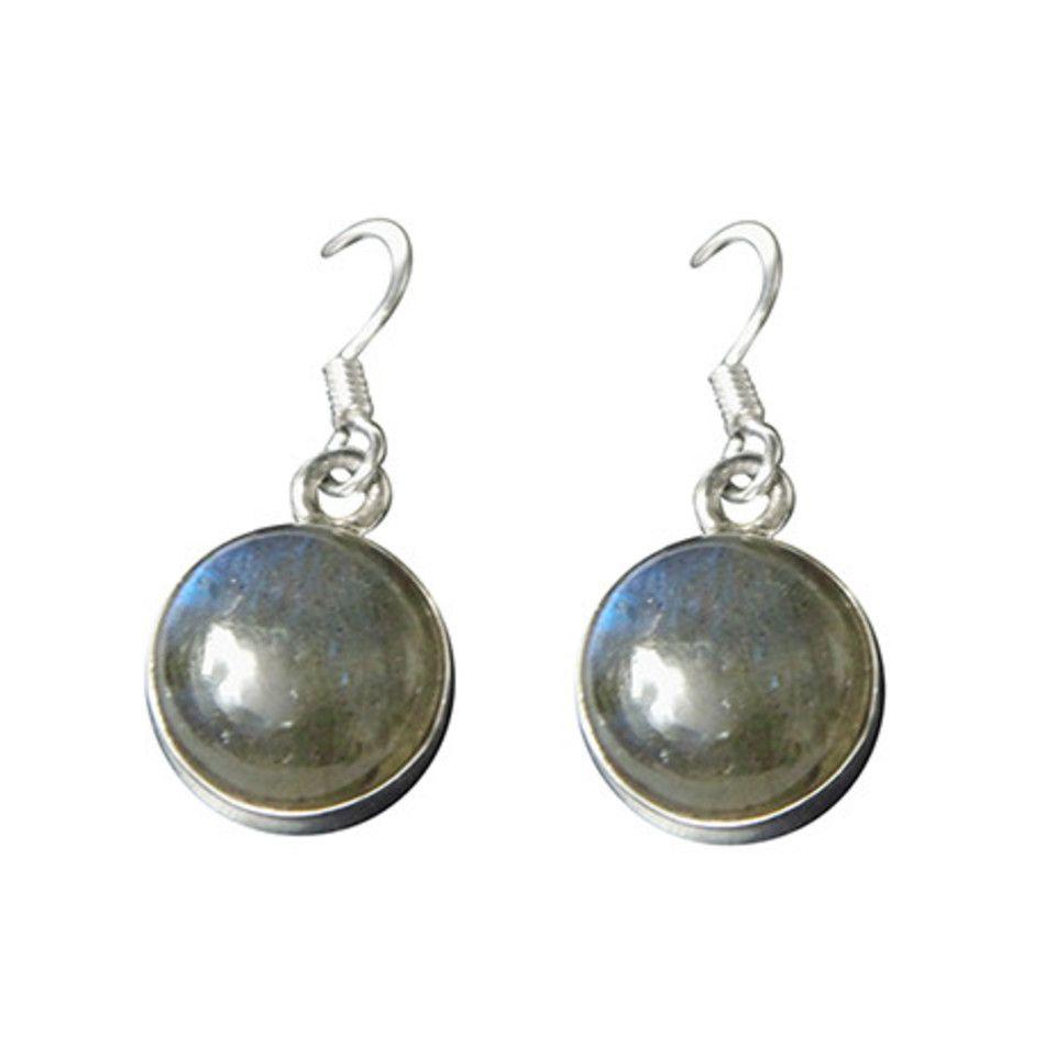 Labradoriet oorbellen rond in zilver