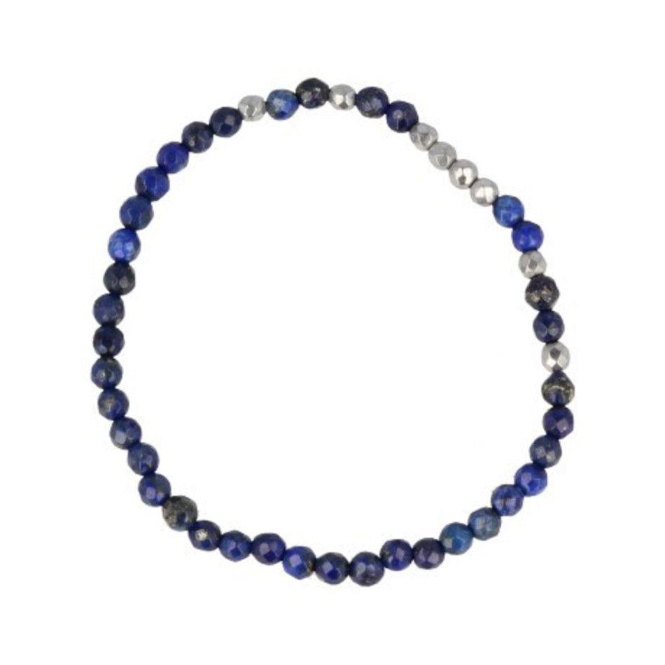 Lapis Lazuli facet kralenarmband 4 mm