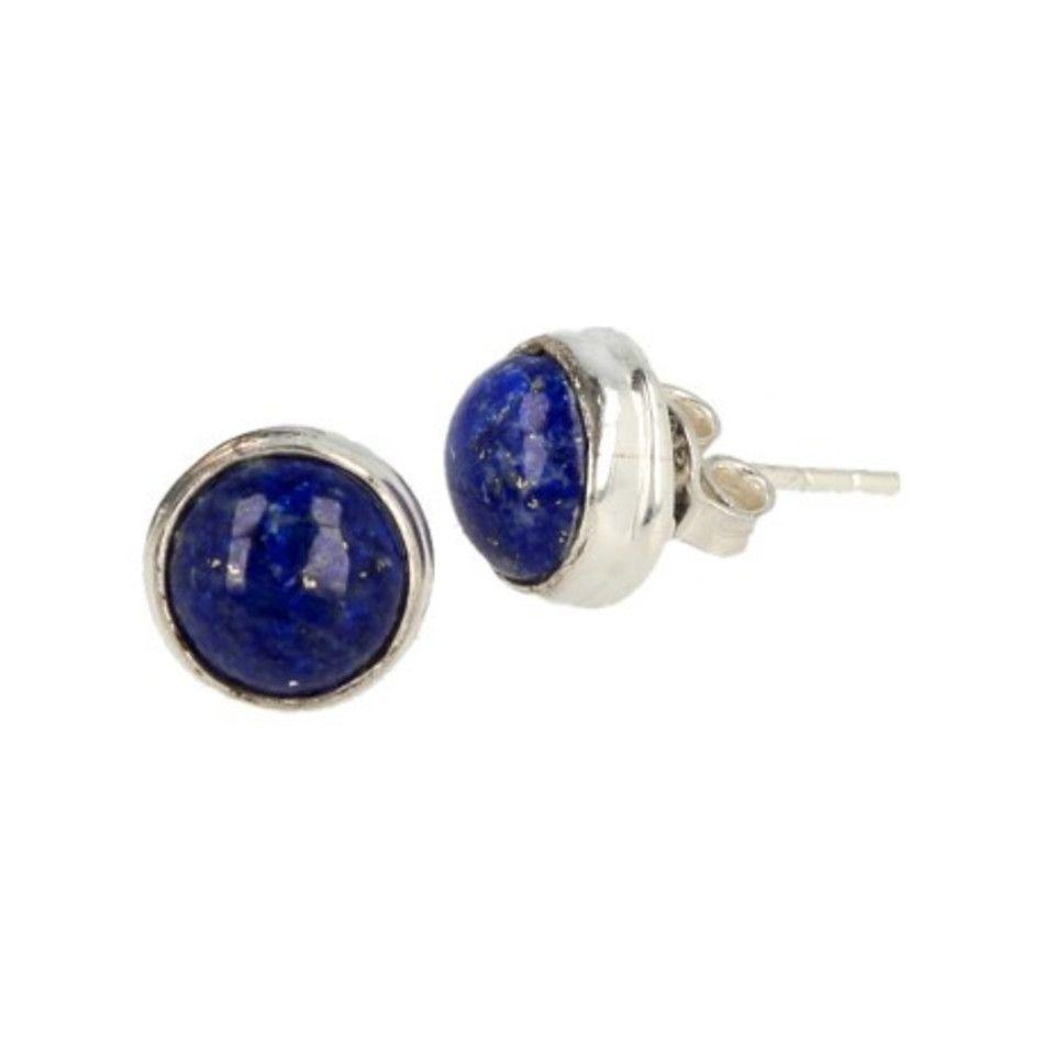 Lapis Lazuli zilveren oorstekers rond