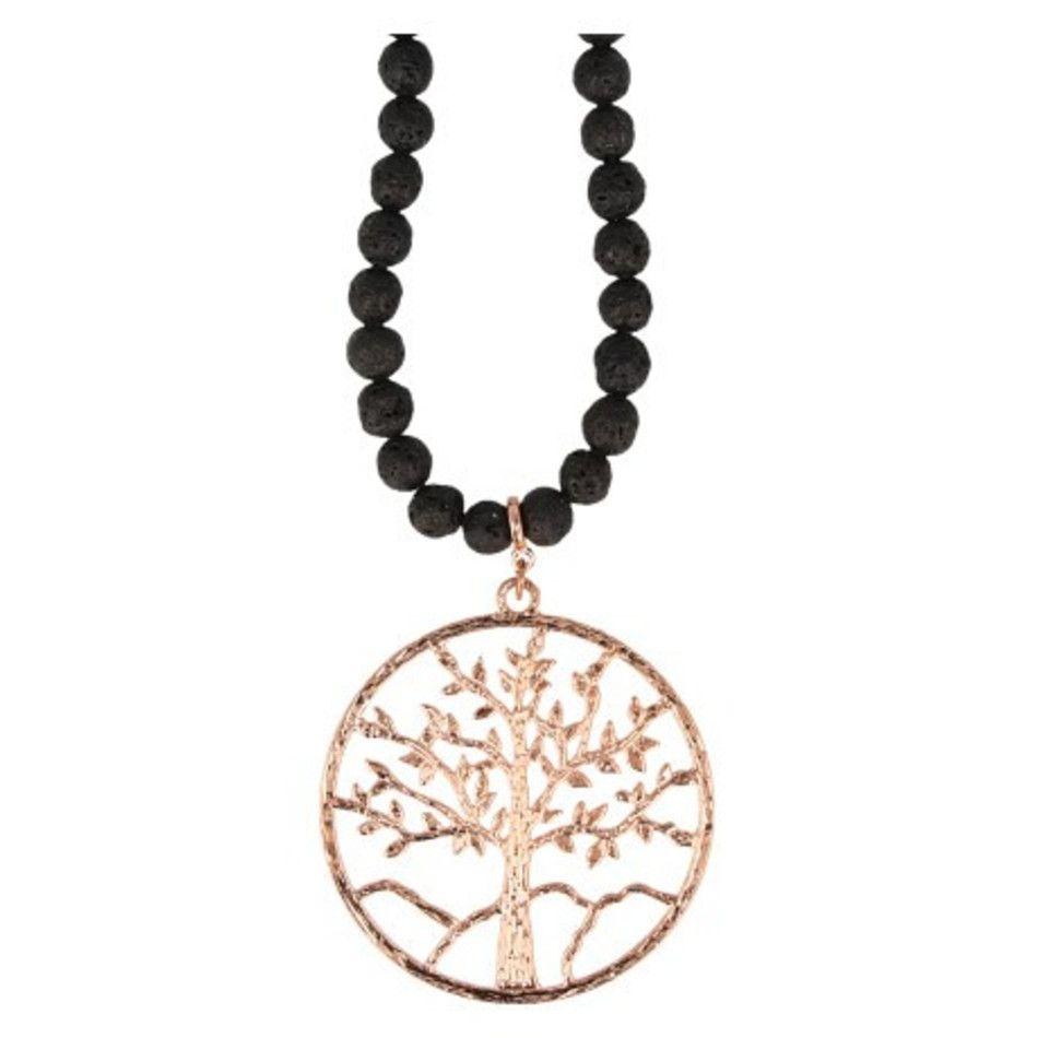 Lavasteen ketting levensboom rosékleur 60 cm