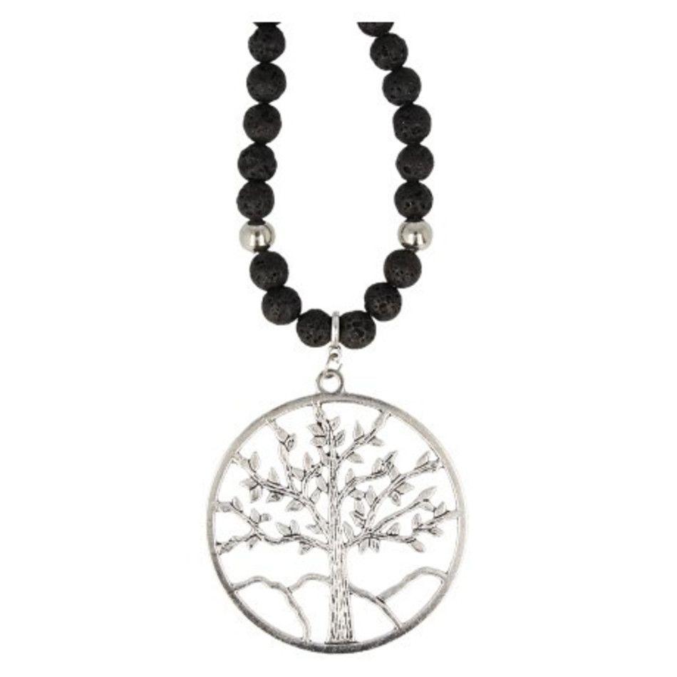 Lavasteen ketting levensboom zilverkleur 60 cm