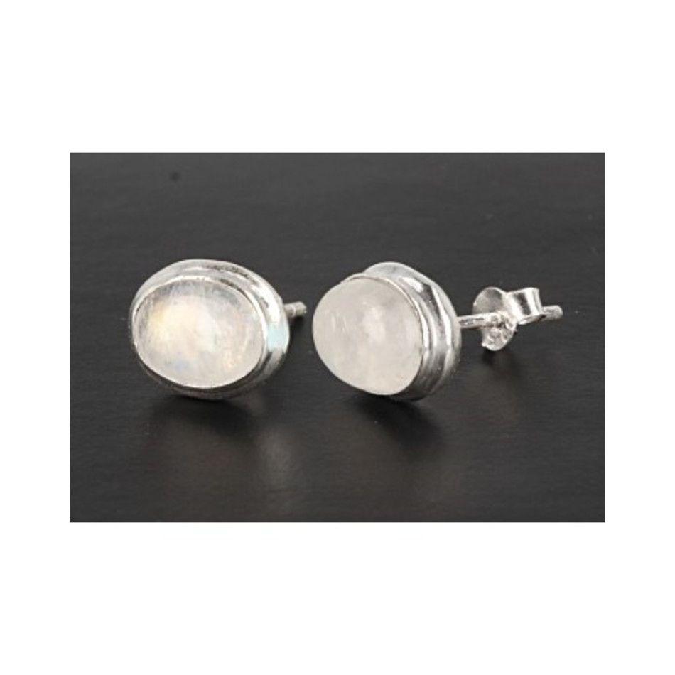 Maansteen regenboog oorstekers zilver ovaal