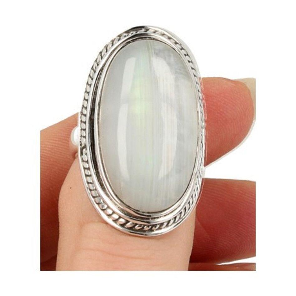 Maansteen regenboog ring zilver bewerkt nr.12 - 17,5