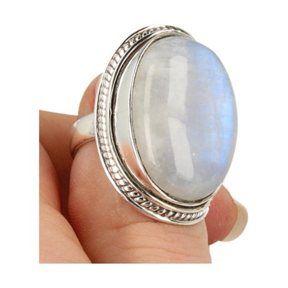 Maansteen regenboog ring zilver bewerkt nr.15 - 17,25