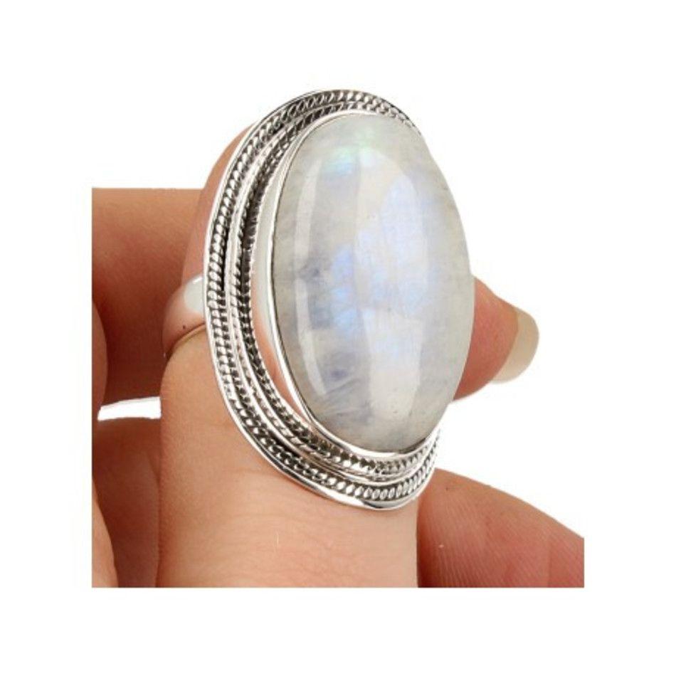 Maansteen regenboog ring zilver bewerkt nr.16 - 18,5