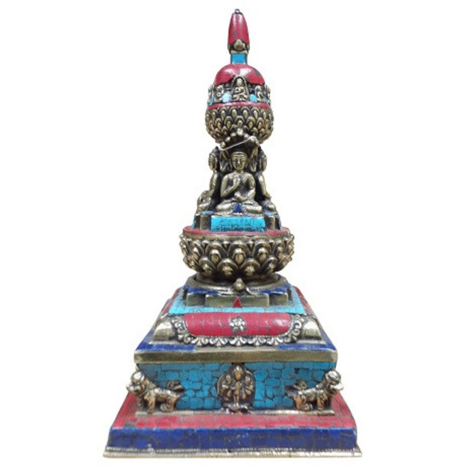 Manjoehir tempel met Turkoois/Koraal (imitatie) /Lapis Lazuli brons nr.10