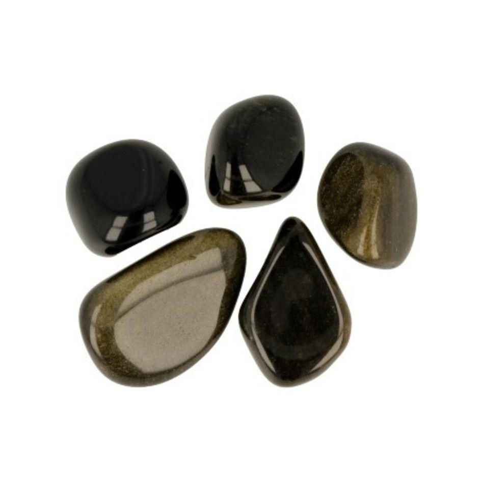 Obsidiaan goud 50 gr. trommelstenen (mt2-3)